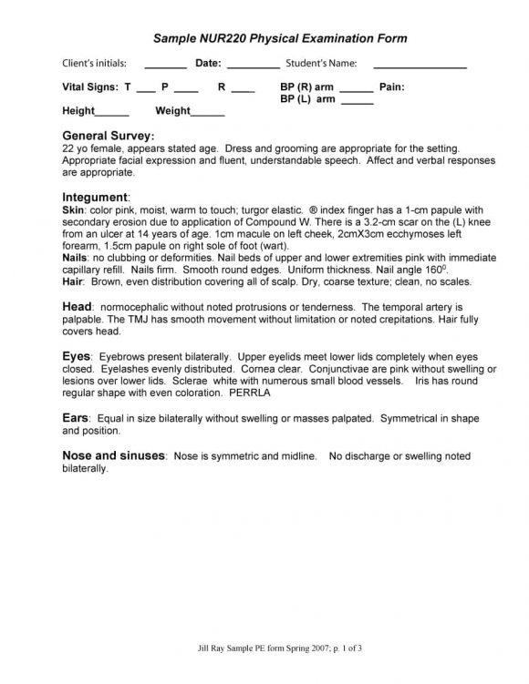 physical examination form 10