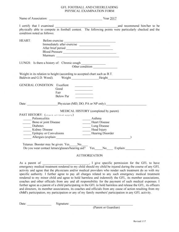 physical examination form 11