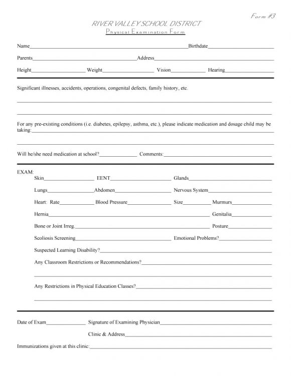 physical examination form 32
