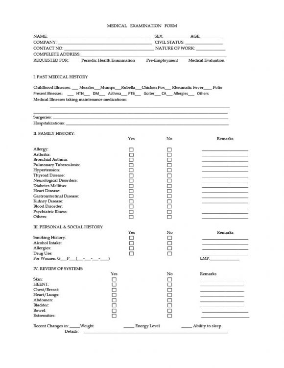 physical examination form 40