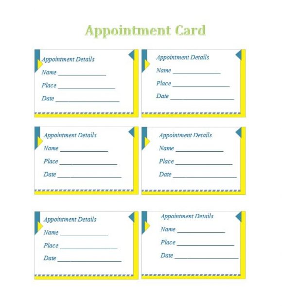 Appointment Cards Template 02
