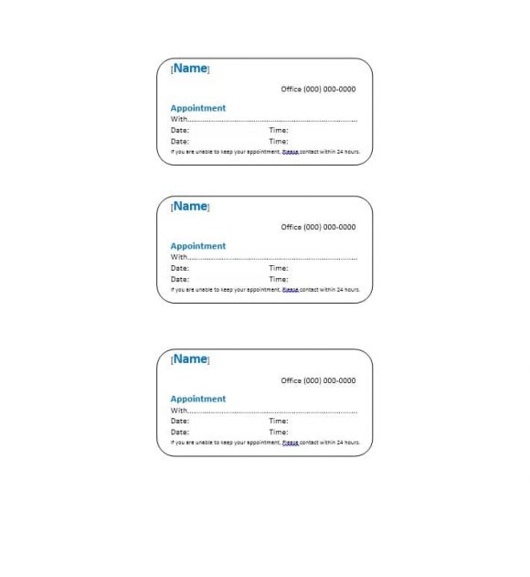 Appointment Cards Template 08