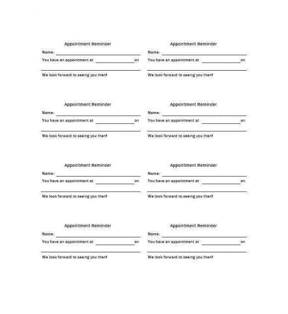 Appointment Cards Template 11