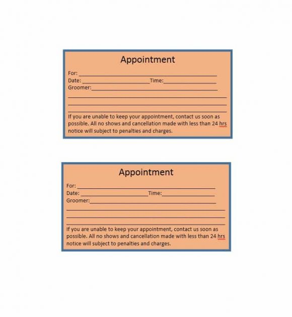 Appointment Cards Template 23