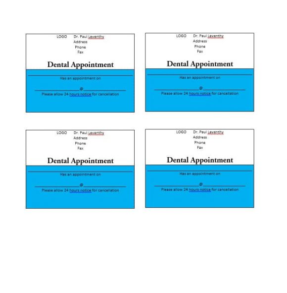 Appointment Cards Templates  Appointment Reminders