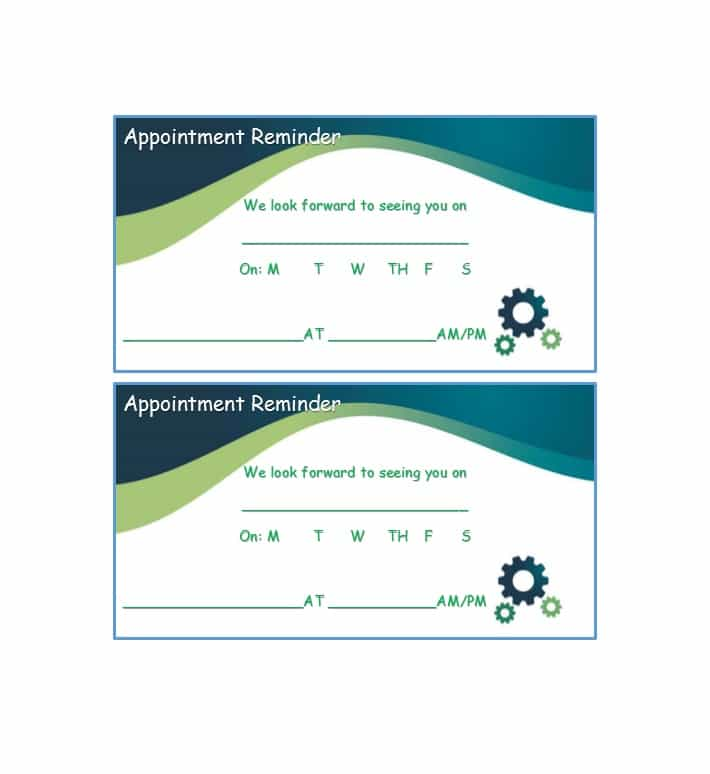 Medical appointment cards bing images for Appointment cards templates free