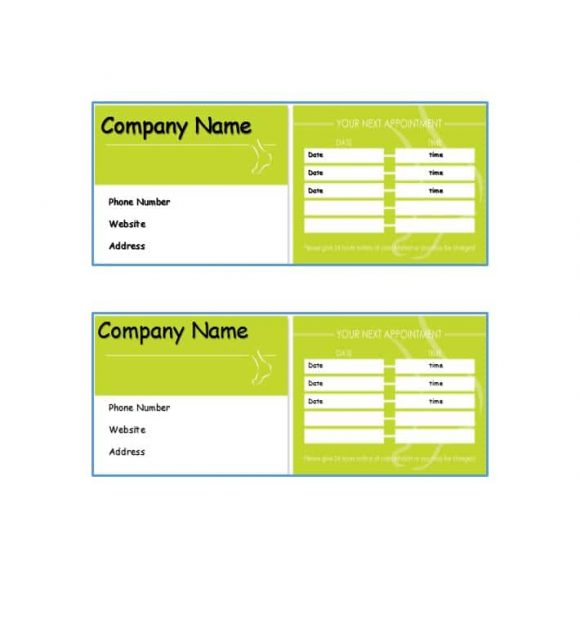 Appointment Cards Template 37