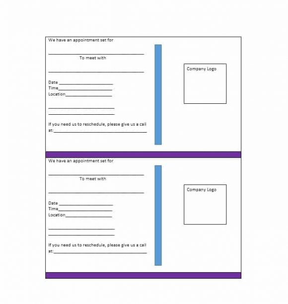 Appointment Cards Template 43