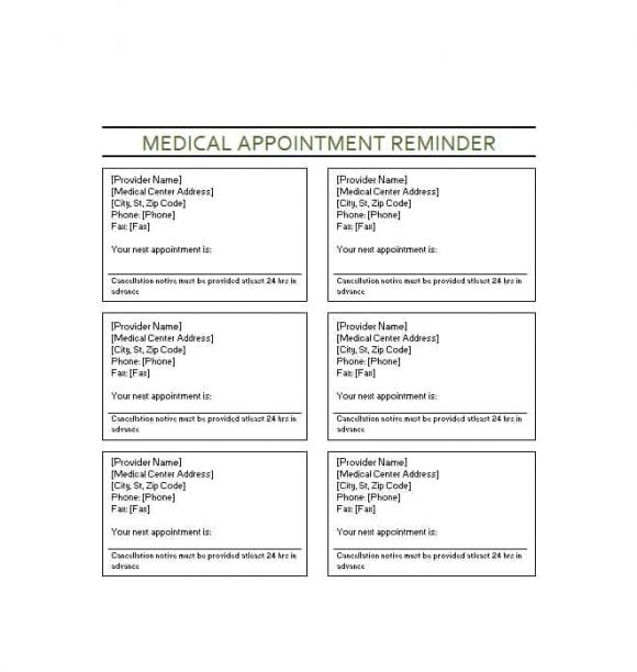 Appointment Cards Template 44