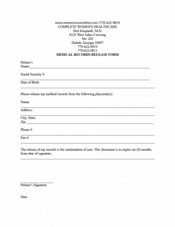 medical release form 01 - Medical Records Release Form