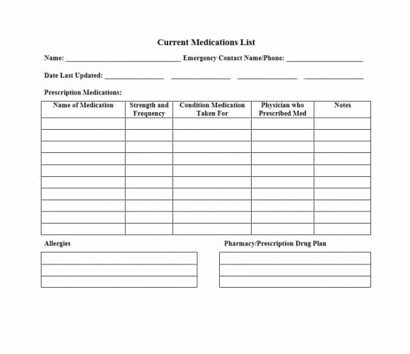 Medication List Templates For Any Patient Word Excel Pdf