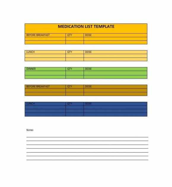 Medication List Template 09