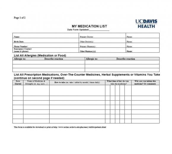 Medication List Template 16
