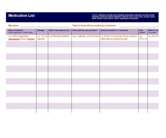 Medication list templates vaydileforic medication list templates maxwellsz