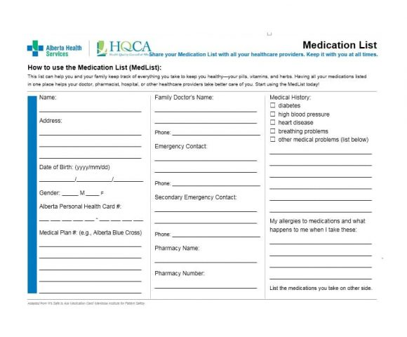 Medication List Template 21