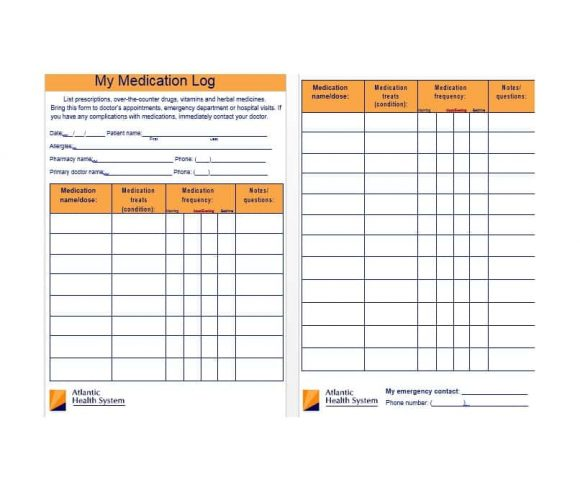 Medication List Template 22