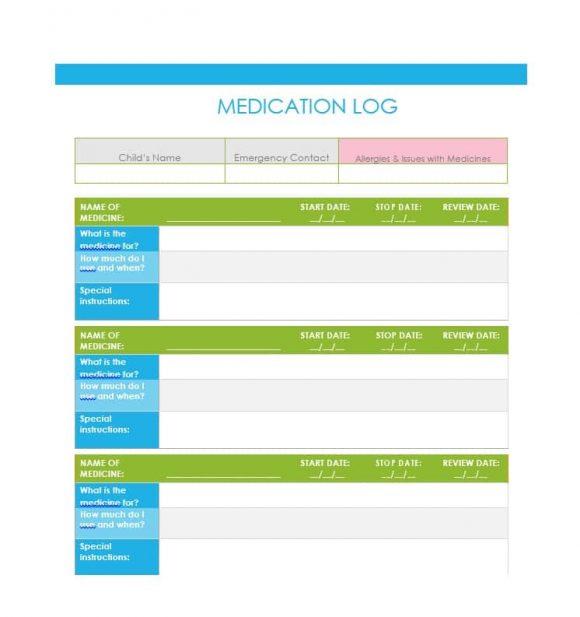 medicine log template
