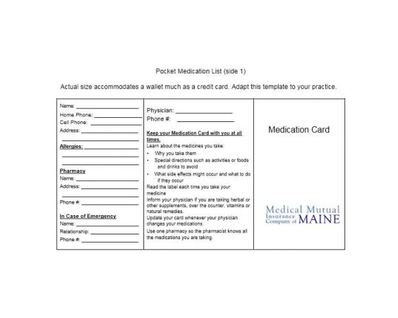 Medication List Template 25