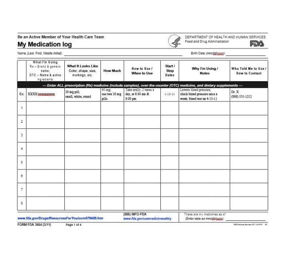 free printable medication log template | trattorialeondoro
