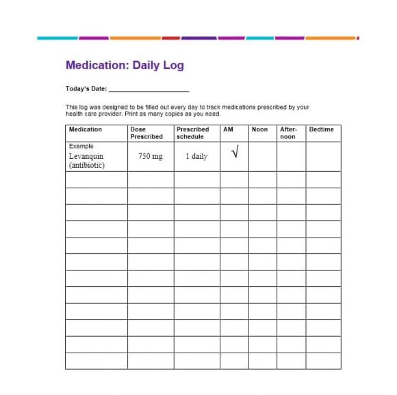 Medication List Template Excel