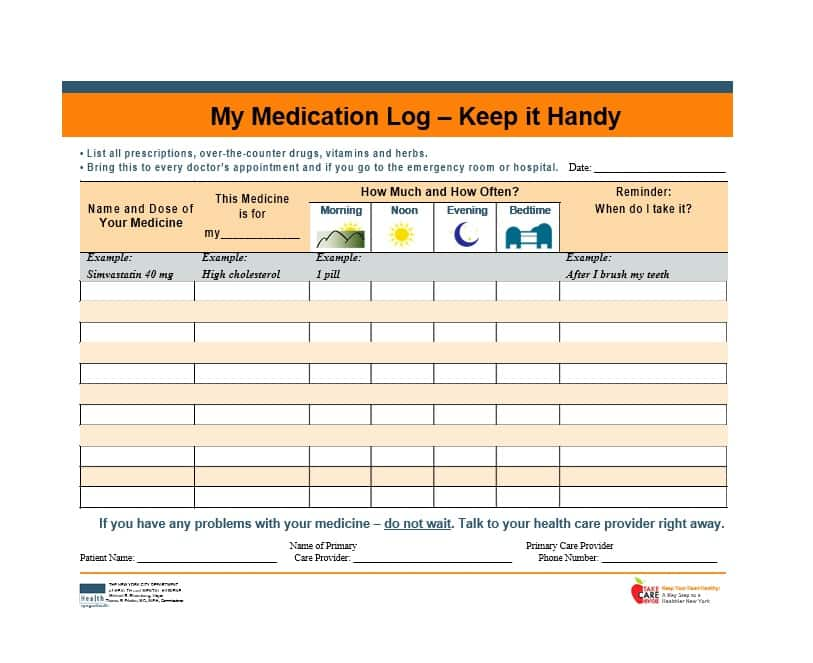 Free Printable Wallet List Of Medication Card Mount Mercy