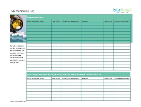 Medication List Template 45