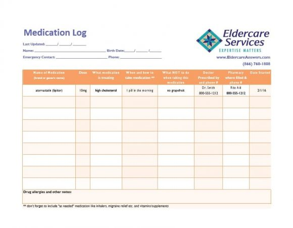 Medication List Template 52