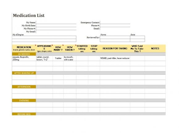 Medication List Template 56