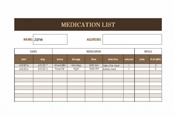Medication List Template 57