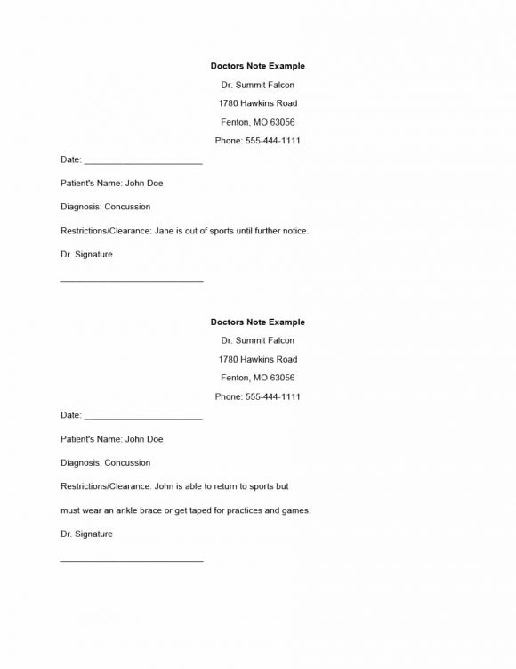 Fake DoctorS Note Templates For School  Work  Printable