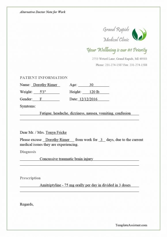 Fake DoctorS Note Templates For School  Work  Printable Templates