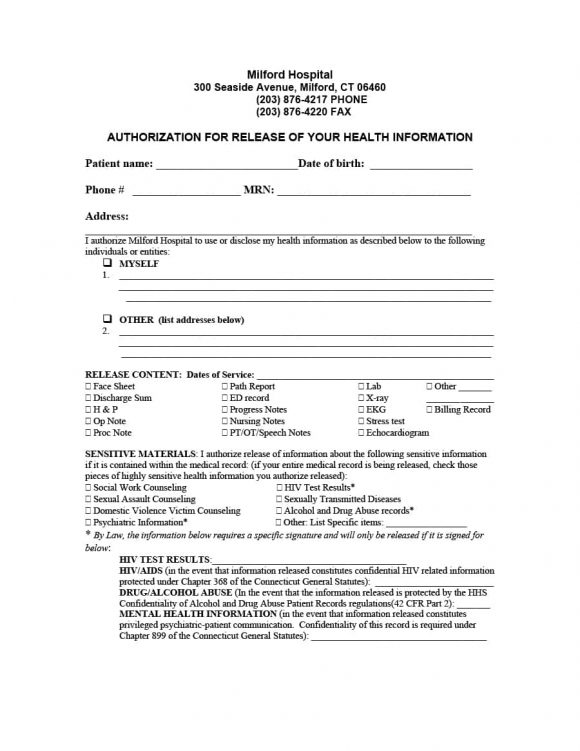 Medical Records Release Form Release Of Information