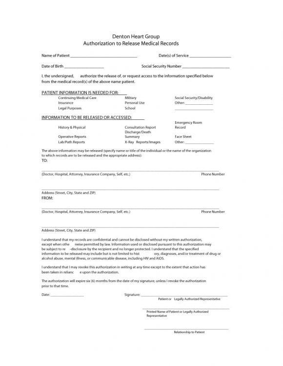 medical release form 17