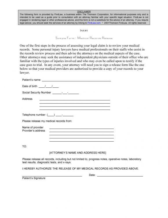 medical release form 18