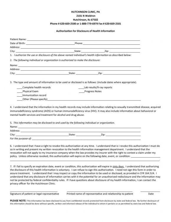 medical release form 24