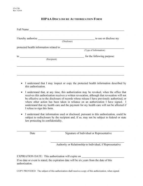 medical release form 28