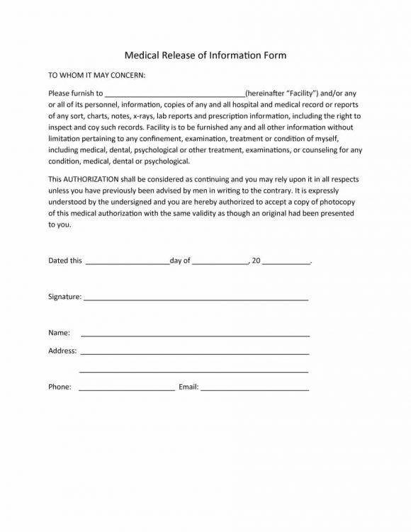 Hipaa Release Form | 40 Medical Records Release Form Release Of Information