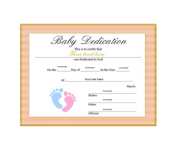 Baby Dedication Certificate Template 04