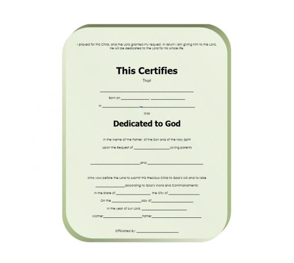 Baby Dedication Certificate Template 05