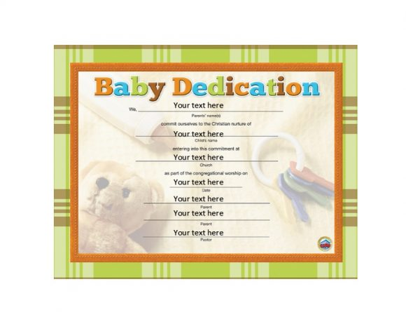 Baby Dedication Certificate Template 07