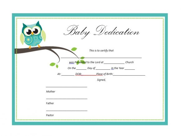 Baby Dedication Certificate Template 09