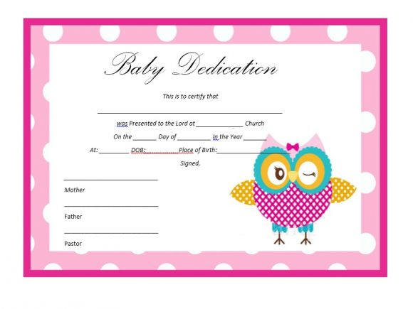 Baby Dedication Certificate Template 10