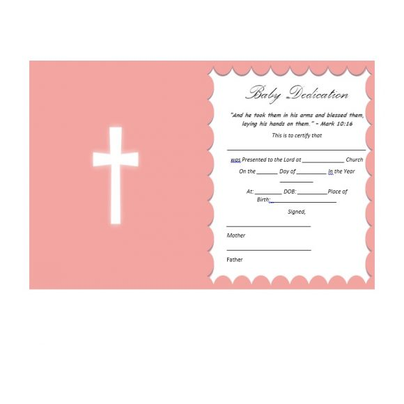 Baby Dedication Certificate Template 14