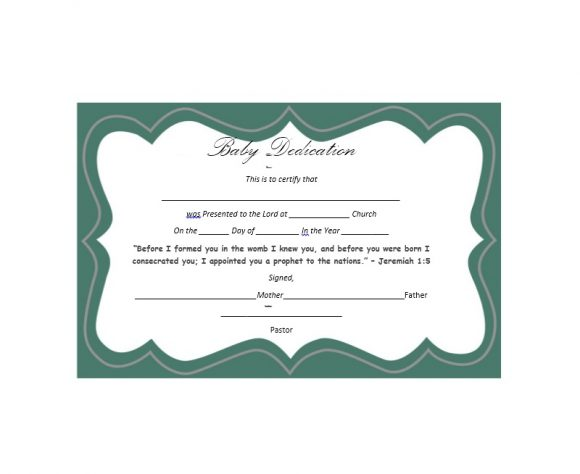 photograph relating to Printable Baby Dedication Certificate known as 50 No cost Little one Perseverance Certification Templates - Printable