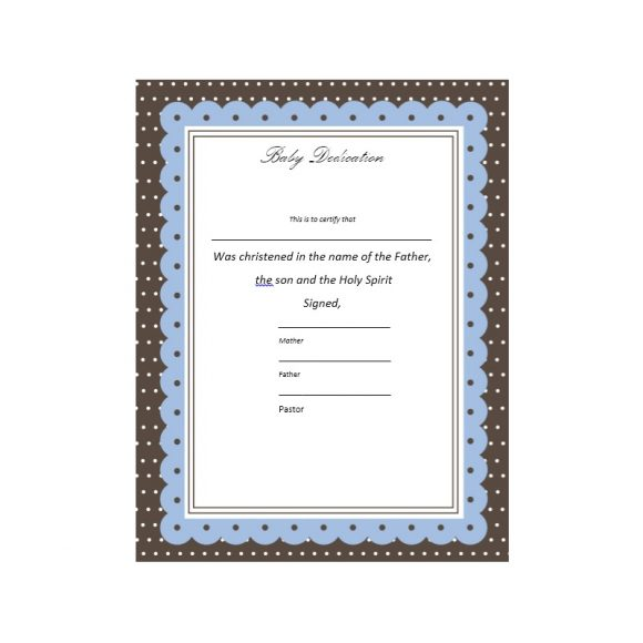 Baby Dedication Certificate Template 16