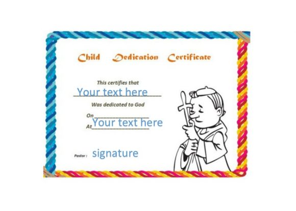 Baby Dedication Certificate Template 21