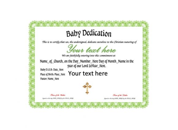 Baby Dedication Certificate Template 22