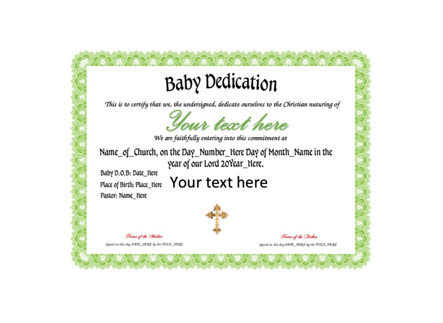 Summary Baby Dedication Certificate Template For Word Free Printable