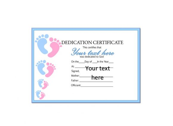 Baby Dedication Certificate Template 23