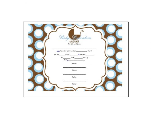 Baby Dedication Certificate Template 25